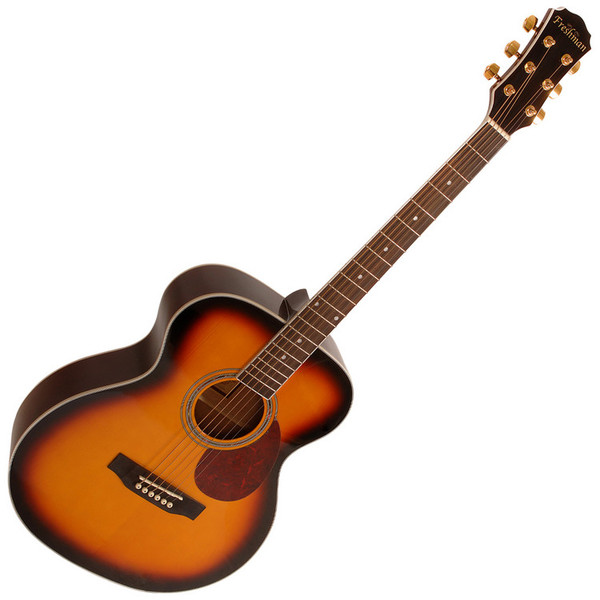 Freshman FA1FSBS Folk Acoustic Guitar, Sunburst with Hardcase