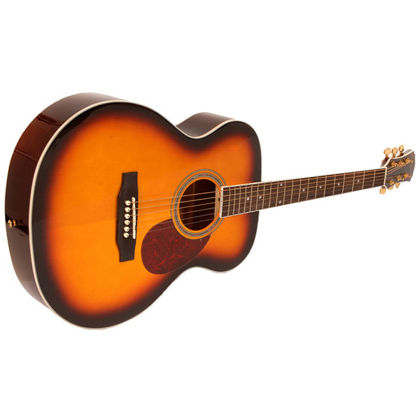 Freshman FA1FSBS Folk Acoustic Guitar, Sunburst with Hardcase Side