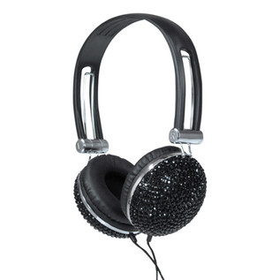 NJS Crystal Effect Stereo Headphones, Black