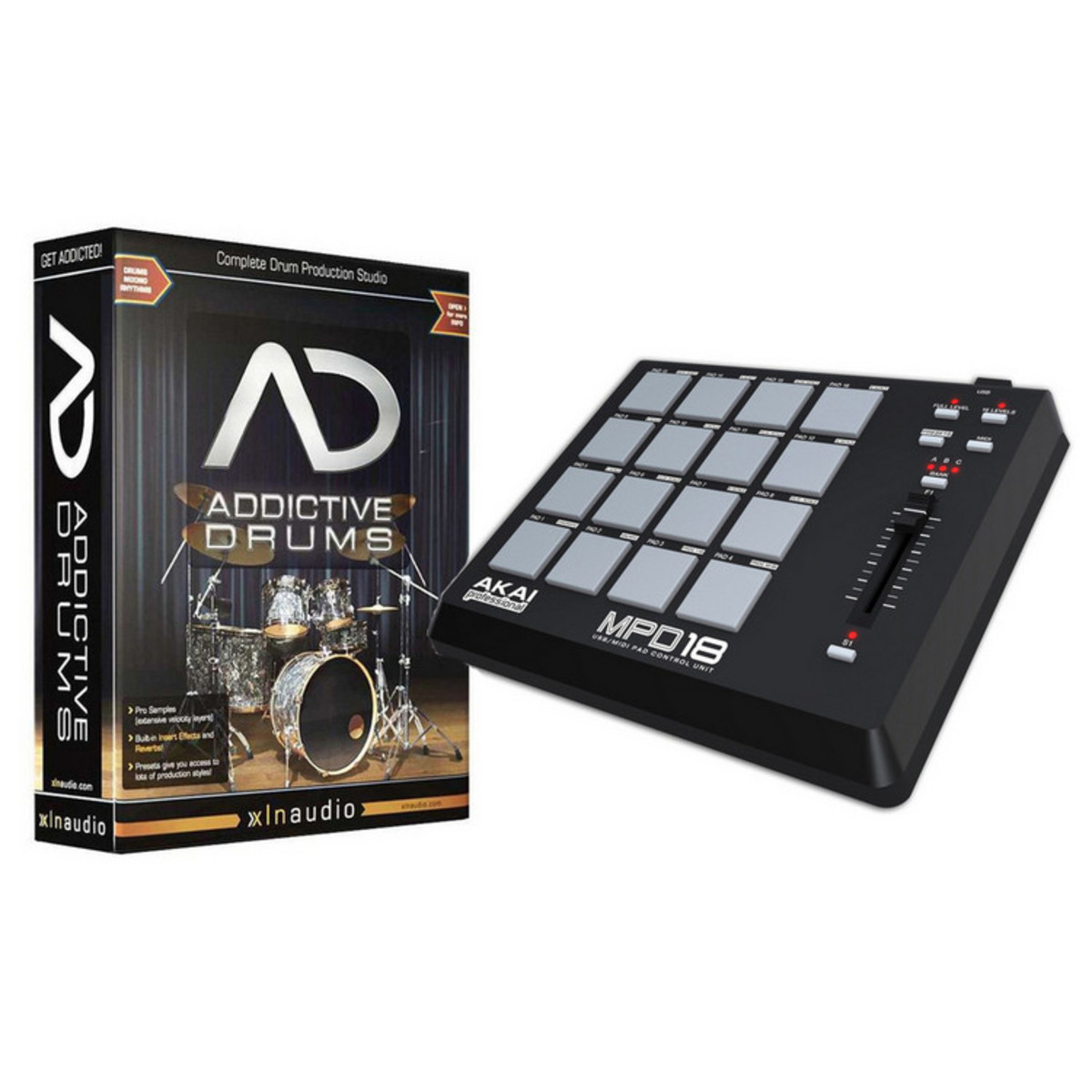 DISC XLN Addictive Drums and Akai MPD18 Pad Controller Bundle