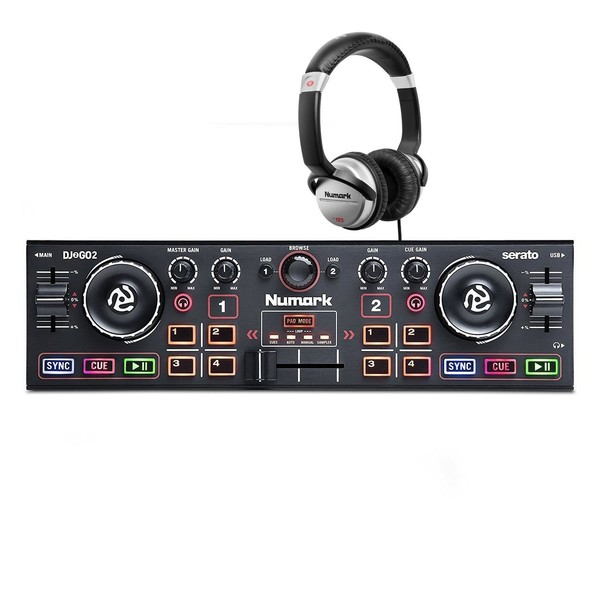 Numark DJ2GO 2 Portable DJ Controller and Numark Headphone - Full Bundle