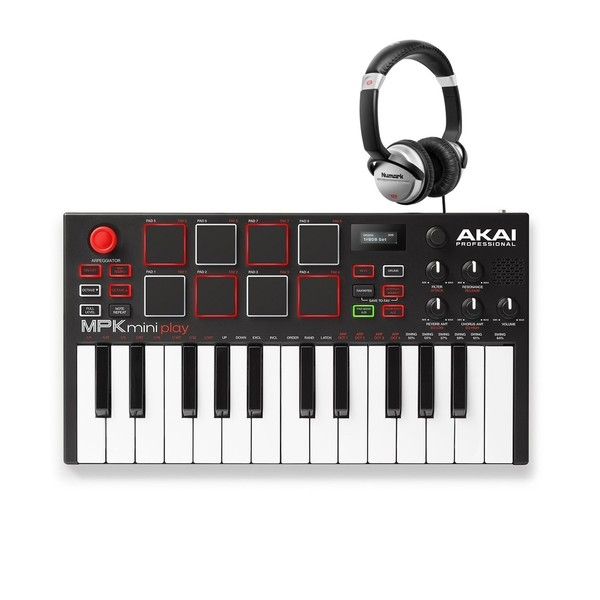 Akai MPK Mini Play Standalone Keyboard with Numark HF125 Headphones - Full Bundle