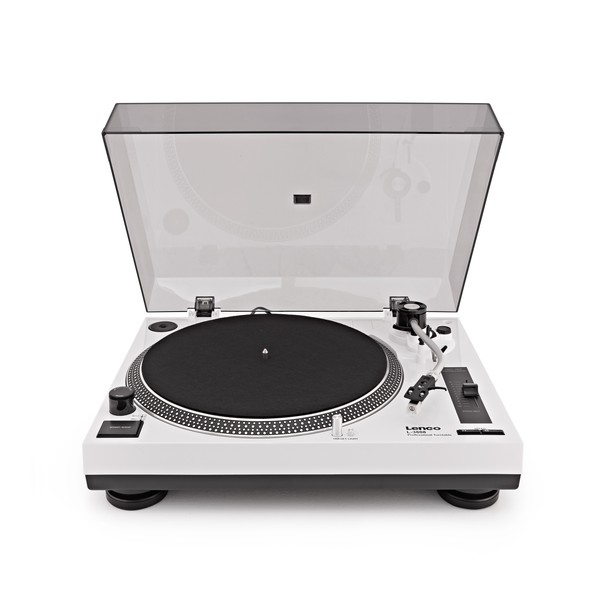 Lenco L 3808 Direct Drive USB DJ Turntable, White