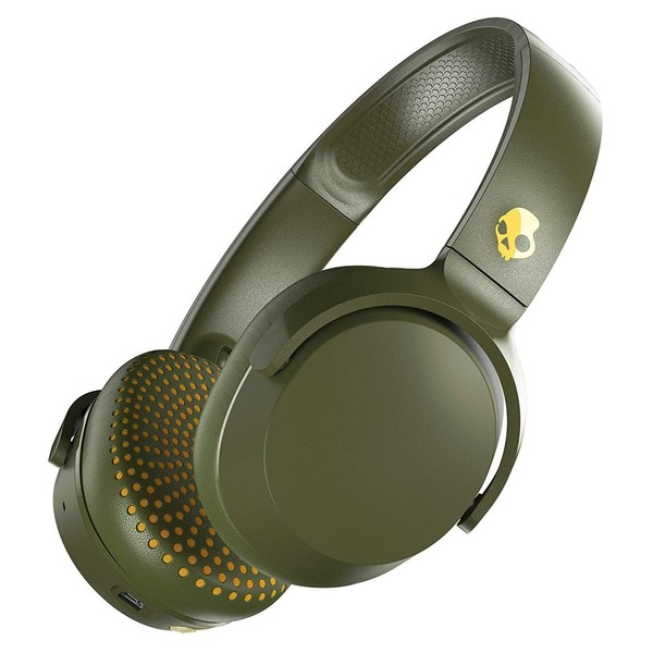 Skullcandy Riff Wireless Headphones, Moss, Yellow - Angled