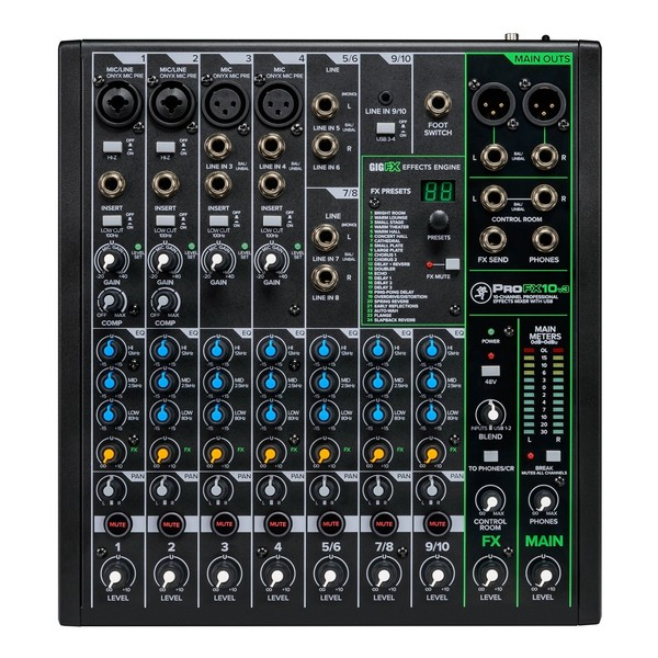 Mackie ProFX10v3 10-Channel Analog Mixer with USB, Top