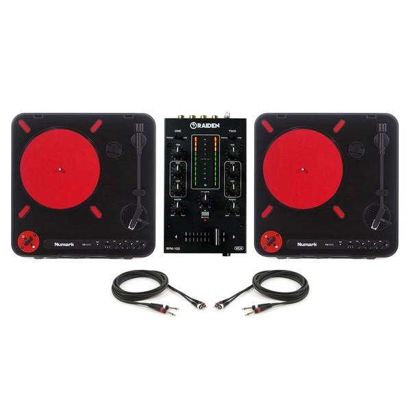 Numark PT01 Scratch and Raiden RPM 100 Portable Mixer Bundle