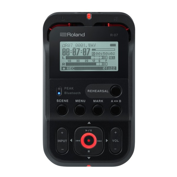 Roland R-07 High Resolution Audio Recorder, Black, Main