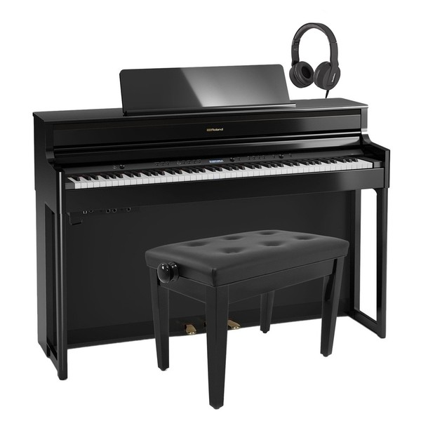 Roland HP704 Digital Piano Package, Polished Ebony