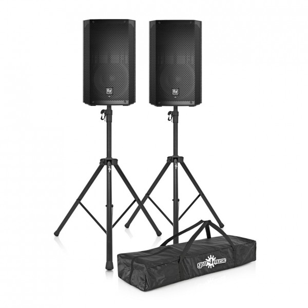 """Electro-Voice ELX200-10P 10"""" Active PA Speakers with Stands - Full Package"""
