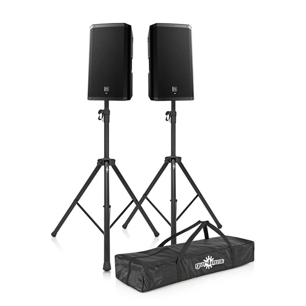 Electro-Voice ZLX-12P Active PA Speakers with Stands, Front