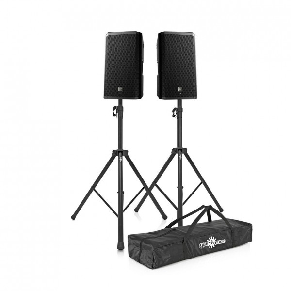 Electro-Voice ZLX-15P Active PA Speakers with Stands, Front