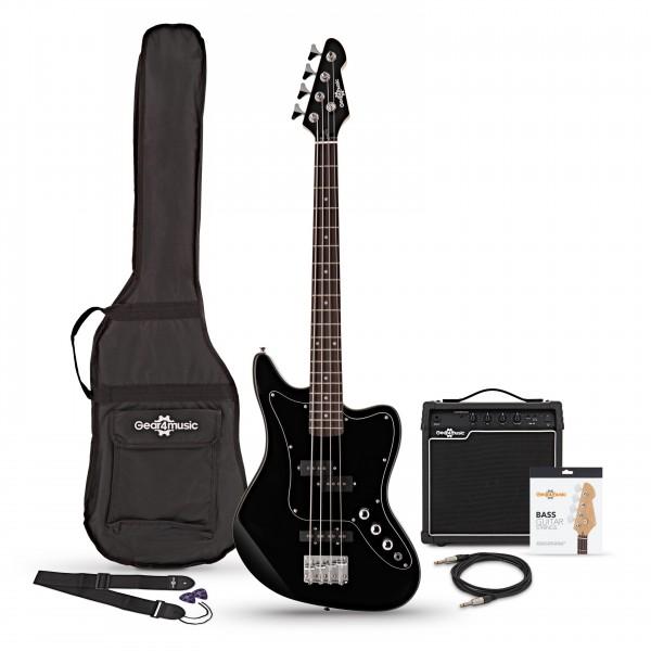 Seattle Short Scale Bass Guitar + 15W Amp Pack, Black, main