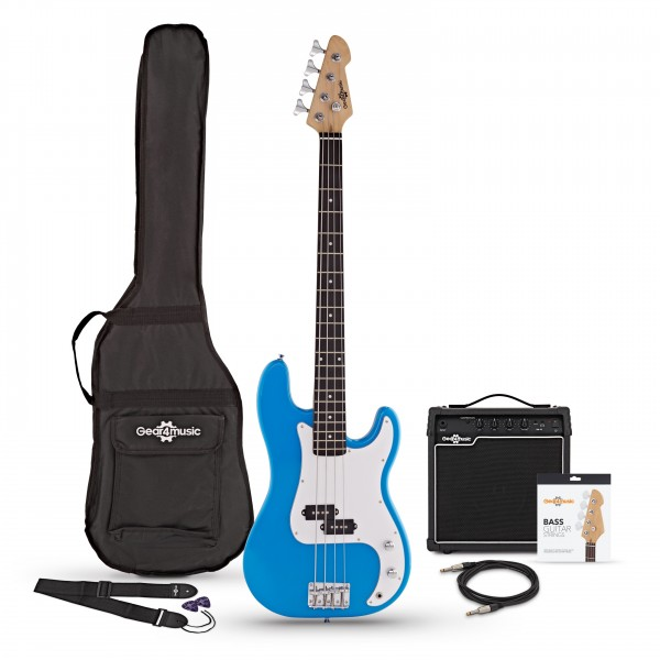 LA Bass Guitar + 15W Amp Pack, Blue