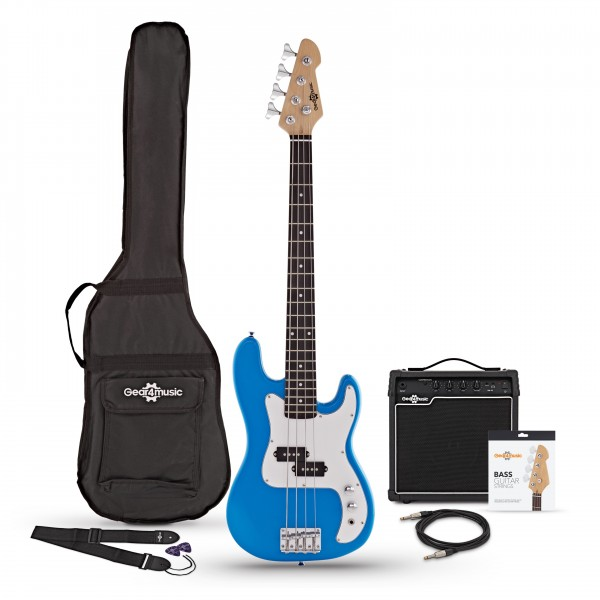 3/4 LA Bass Guitar + 15W Amp Pack, Blue - Main Image