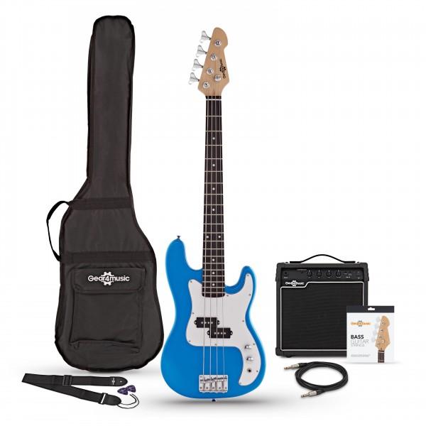 3/4 LA Bass Guitar + 15W Amp Pack, Blue - Main Image