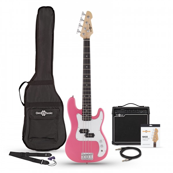 3/4 LA Bass Guitar + 15W Amp Pack, Pink - Main Image