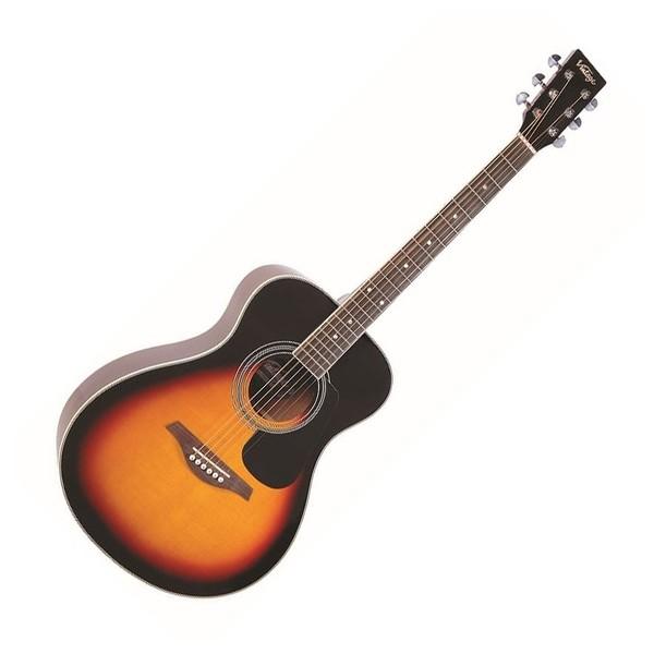 Vintage V300 Folk Acoustic Guitar, Vintage Sunburst - Front