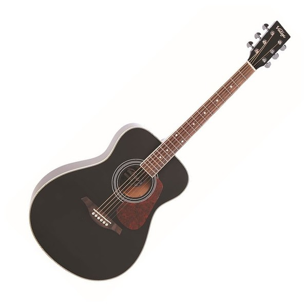 Vintage V300 Folk Acoustic Guitar, Black - Front