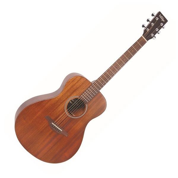 Vintage V300 Folk Acoustic Guitar, Mahogany - Front