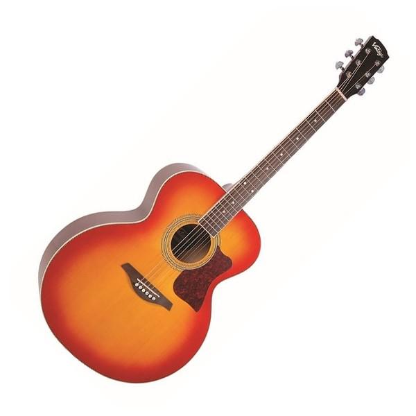 Vintage VJ100CSB Super Jumbo Acoustic Guitar, Cherry Sunburst - Front