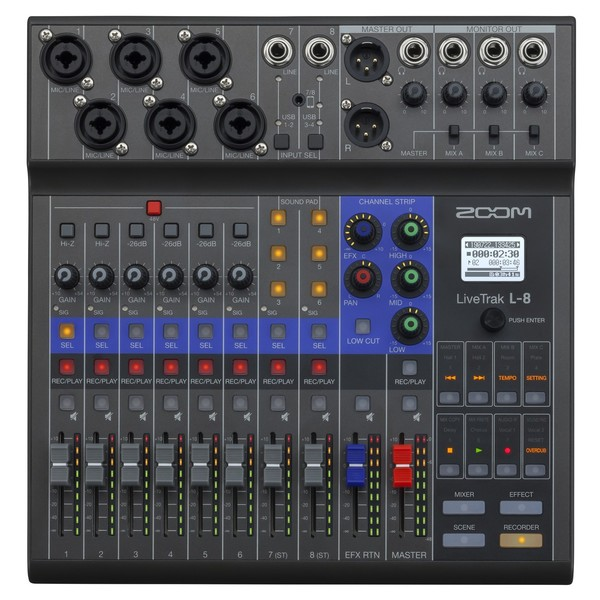 Zoom LiveTrak L-8 Mixer for Podcasters and Musicians - Top
