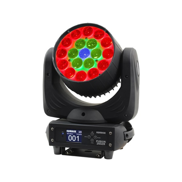 Equinox Fusion 260ZR Moving Head LED Wash, Front Angled Lit