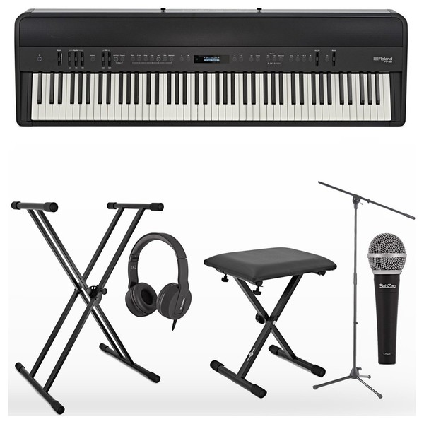 Roland FP 90 Digital Piano Vocalist Pack with Microphone, Black