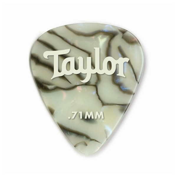 Taylor Celluloid 351 Picks, Abalone, 0.71mm, Pack of 12 - Front View