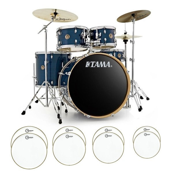 Tama Rhythm Mate Complete Bundle w/ Drum Head Upgrade, Hairline Blue - main image