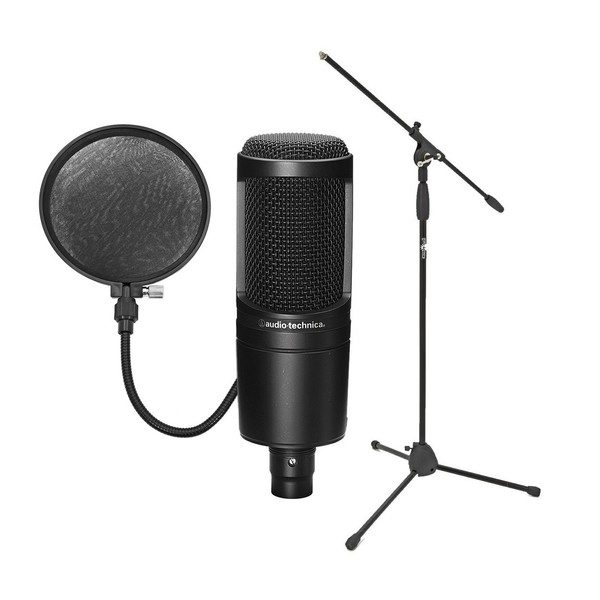 Audio Technica AT2020 Microphone with Stand and Free Pop-Shield