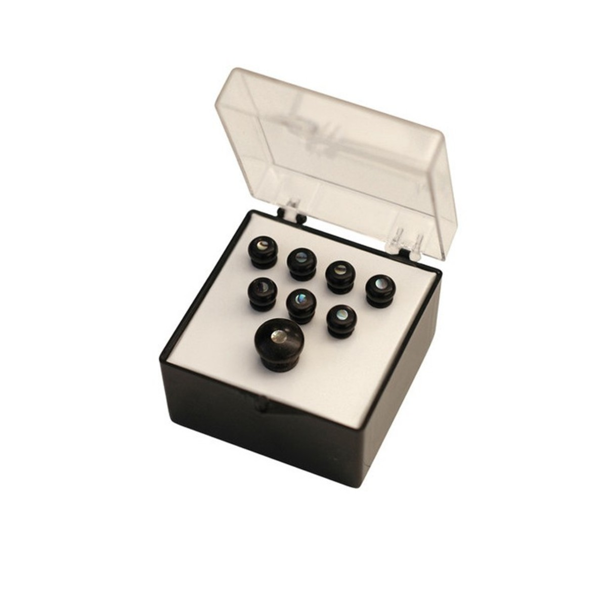martin bridge pins set of 8 ebony w pearl inlay at gear4music. Black Bedroom Furniture Sets. Home Design Ideas