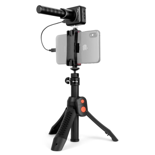 IK Multimedia iRig Mic Video Bundle - Angled with Phone (iPhone Not Included)