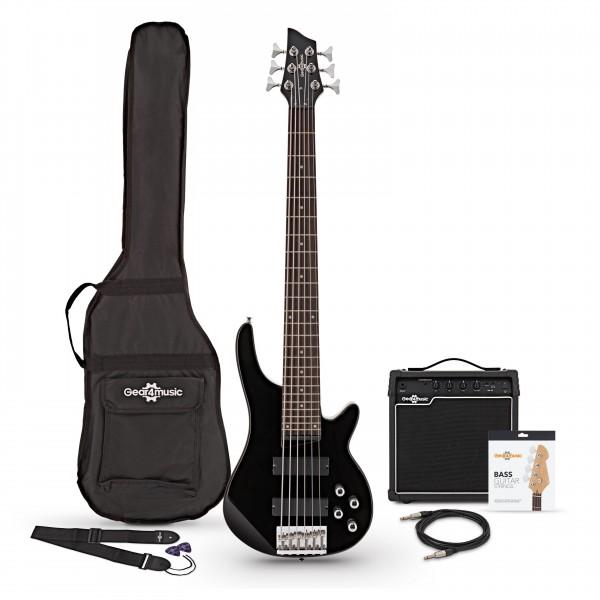 Chicago 6 String Bass Guitar + 15W Amp Pack, Black Main