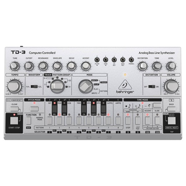 Behringer TD-3 Analog Bass Line Synthesizer, Silver - Top