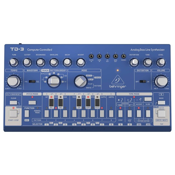 Behringer TD-03 Analog Bass Line Synthesizer, Blue - Top