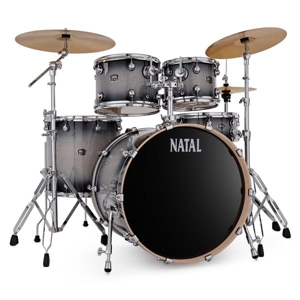 Natal Arcadia 22'' 5pc Drum Kit w/Cymbals, Black Sparkle Sunburst