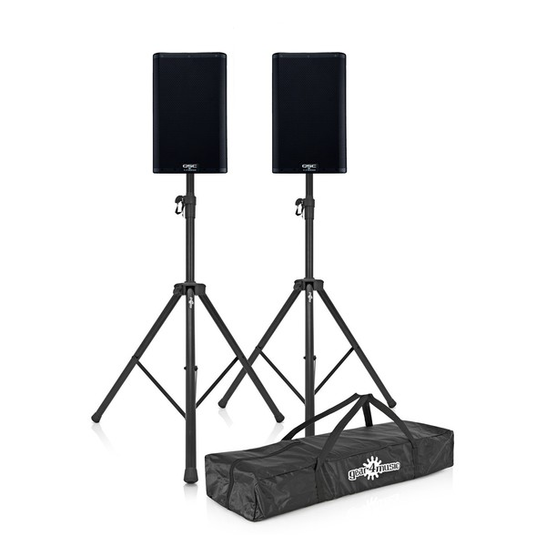 "QSC K10.2 10"" Active PA Speakers Pair with Stands"