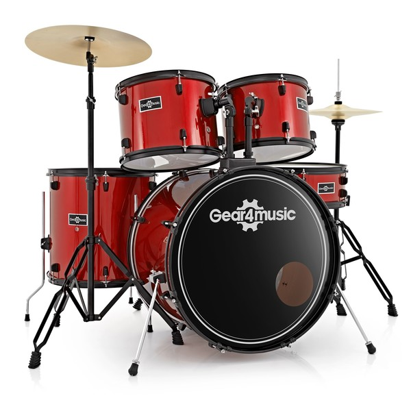 BDK-1 Full Size Starter Drum Kit by Gear4music, Red