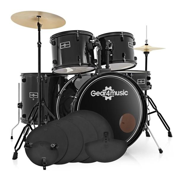 BDK-1 Full Size Starter Drum Kit + Practice Pack, Black