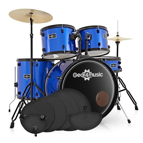 BDK-1 Full Size Starter Drum Kit + Practice Pack, Blue