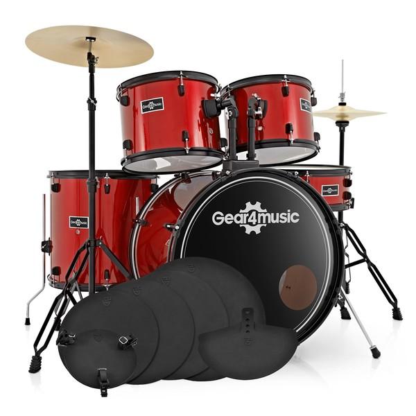 BDK-1 Full Size Starter Drum Kit + Practice Pack, Red
