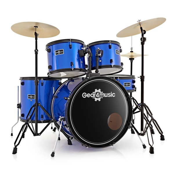 BDK-1plus Full Size Starter Drum Kit by Gear4music, Blue