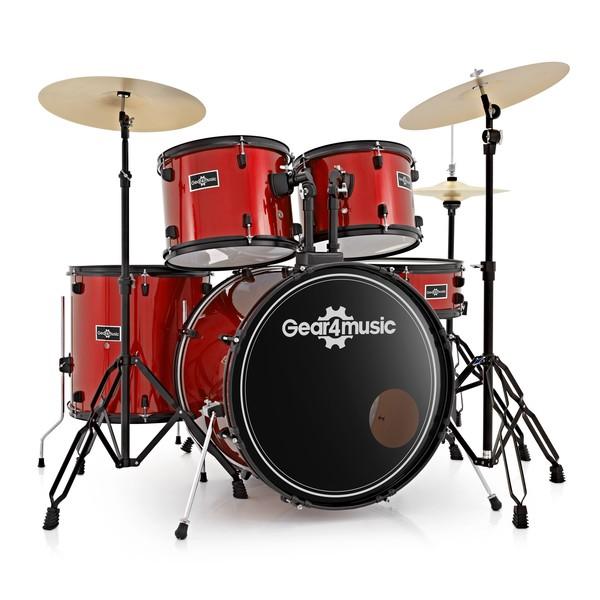BDK-1plus Full Size Starter Drum Kit by Gear4music, Red