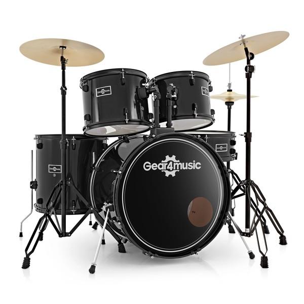BDK-1plus Full Size Starter Drum Kit by Gear4music, Black