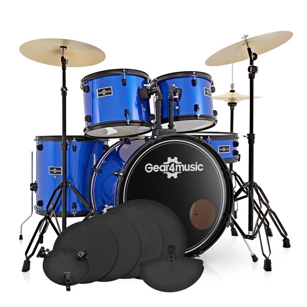 BDK-1plus Full Size Starter Drum Kit + Practice Pack, Blue