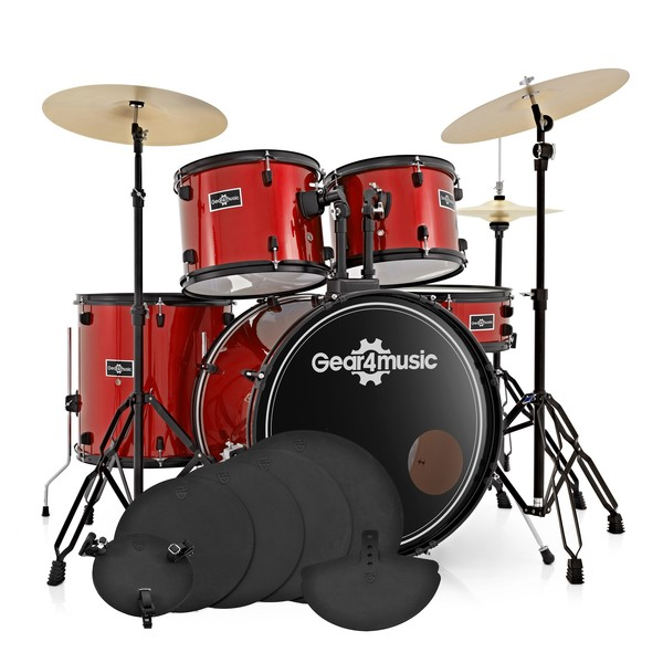 BDK-1plus Full Size Starter Drum Kit + Practice Pack, Red