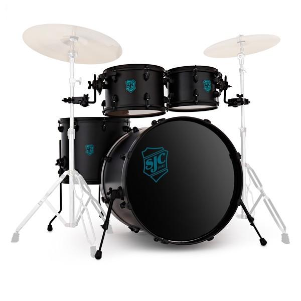 "SJC Drums Pathfinder 22"" 4pc Shell Pack, Midnight Black, Black HW"