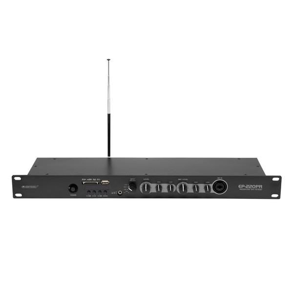 Omnitronic EP-220PR Preamplifier with Audio Player and FM Radio, Front Tilted