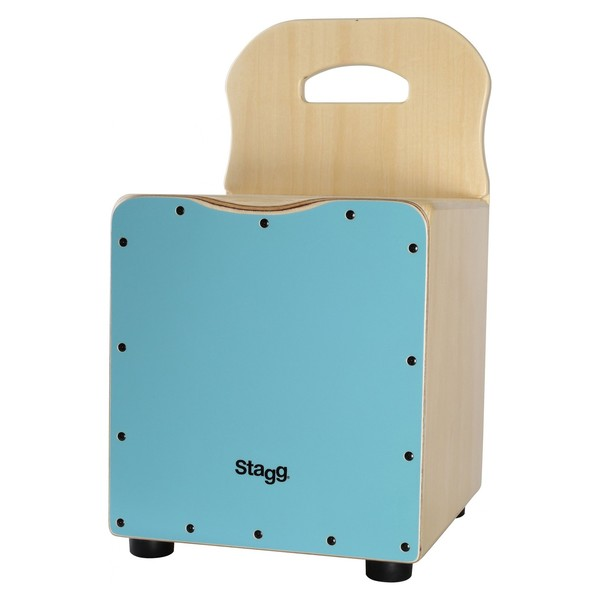 Stagg Kids Cajon With Back Rest, Blue - front