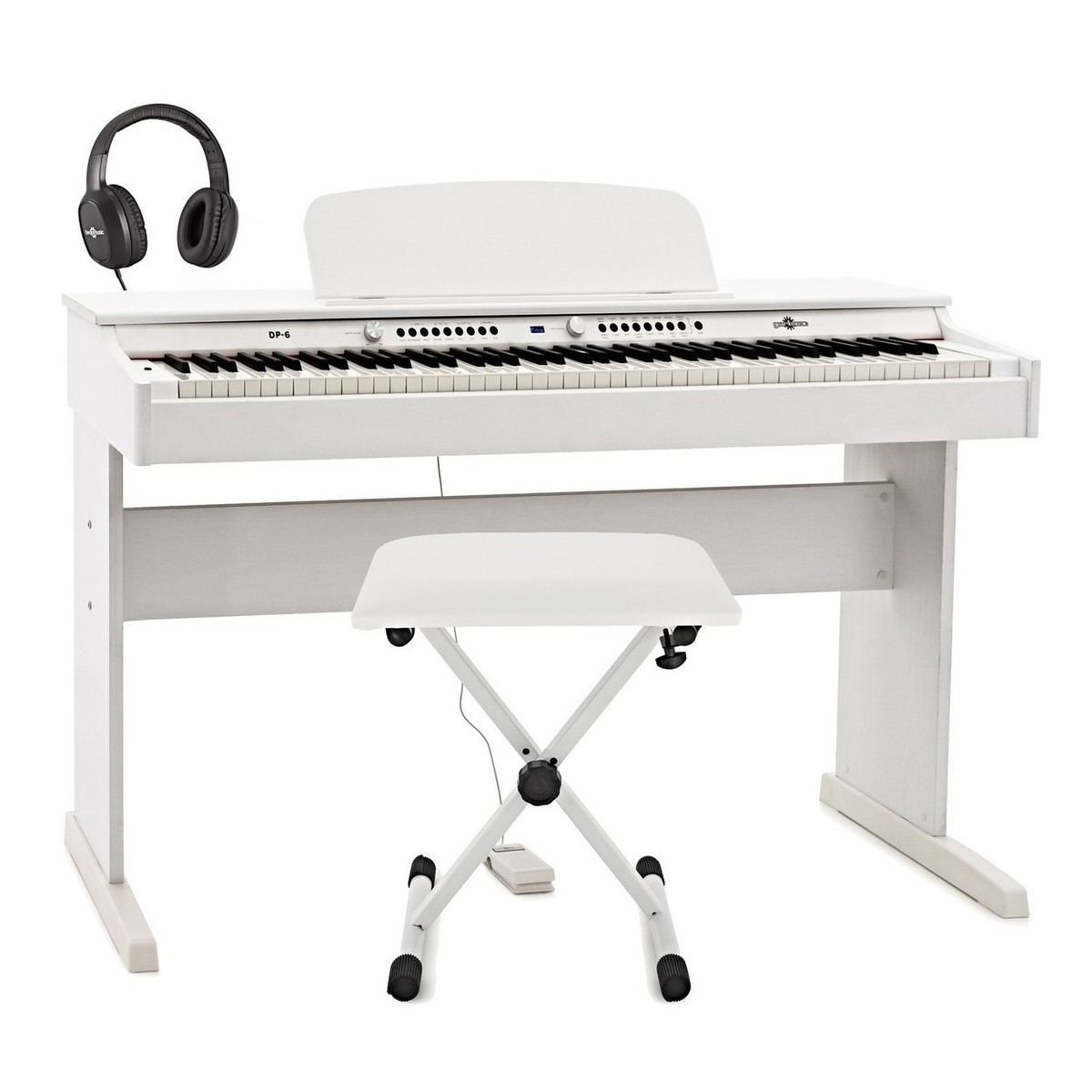 DP-6 Digital Piano by Gear4music   Accessory Pack, White